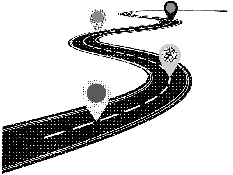 winding road with checkpoints