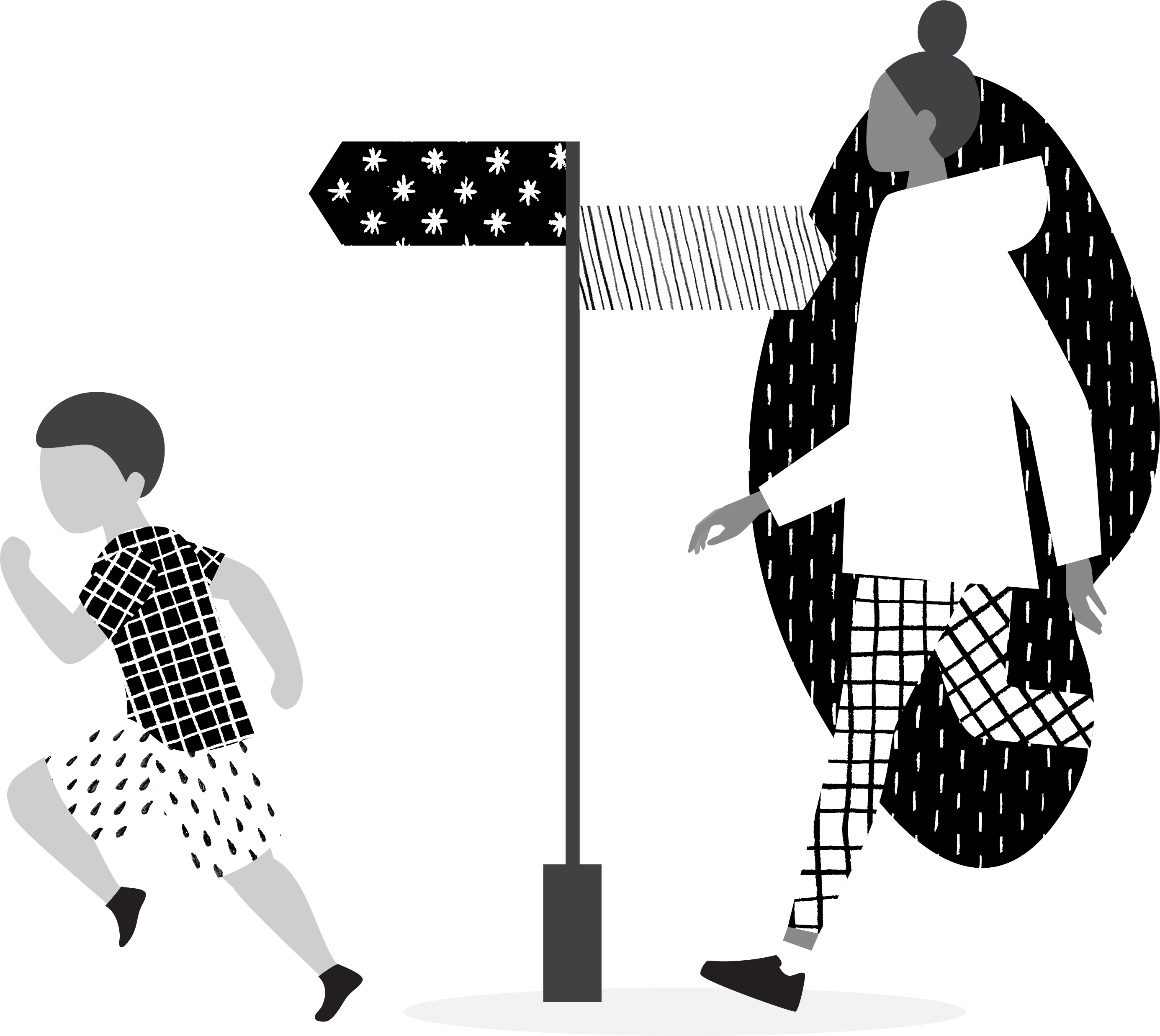 boy and girl walking out of hole, next to direction signs